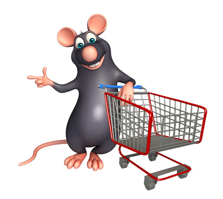 trolly: 3d rendered illustration of Rat cartoon character with trolly Stock Photo