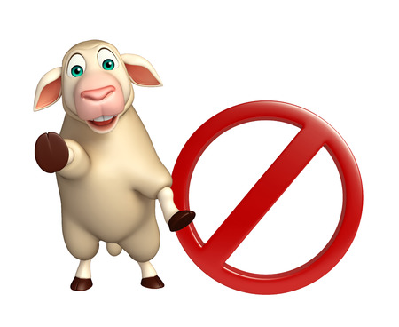 sheep road sign: 3d rendered illustration of Sheep cartoon character with stop sign Stock Photo