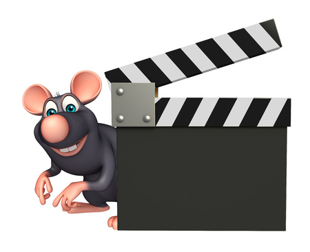 whisker characters: 3d rendered illustration of Rat cartoon character with clapboard Stock Photo