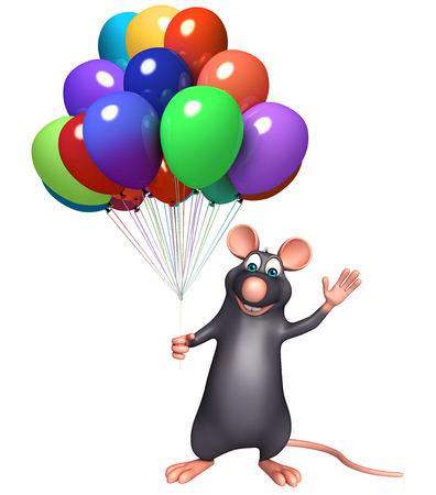 rata caricatura: 3d rindió la ilustración de personaje de dibujos animados de la rata con el globo Foto de archivo