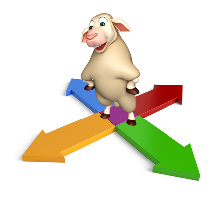 sheep sign: 3d rendered illustration of Sheep cartoon character with arrow sign