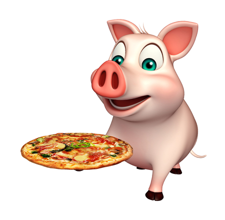 3d pizza: 3d rendered illustration of Pig cartoon character with pizza