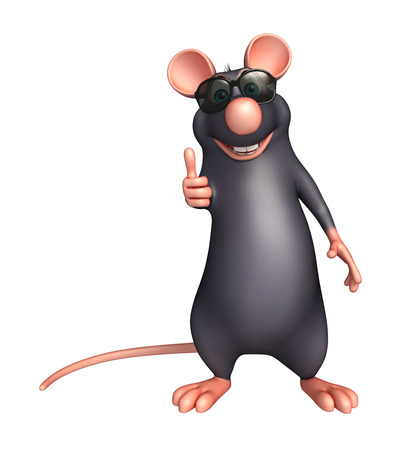 eyewear fashion: 3d rendered illustration of Rat cartoon character with sunglass