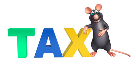 obligation: 3d rendered illustration of Rat cartoon character with tax sign Stock Photo