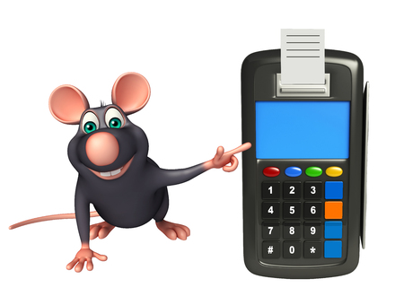 whisker characters: 3d rendered illustration of Rat cartoon character with swap machine
