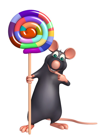 lollypop: 3d rendered illustration of Rat cartoon character with lollypop Stock Photo