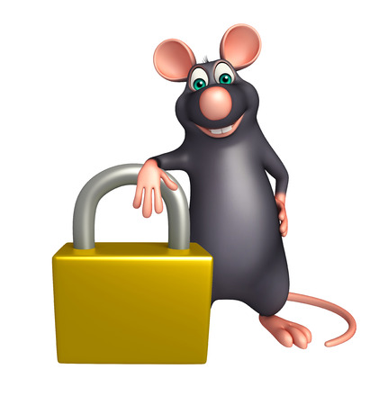 whisker characters: 3d rendered illustration of Rat cartoon character with lock Stock Photo