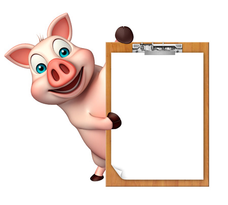 writing pad: 3d rendered illustration of Pig cartoon character with exam pad Stock Photo