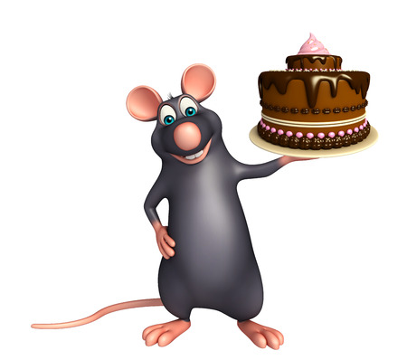savoury: 3d rendered illustration of Rat cartoon character with cake