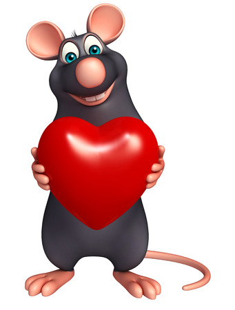 whisker characters: 3d rendered illustration of Rat cartoon character with heart