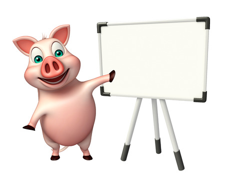 display board: 3d rendered illustration of Pig cartoon character with display board Stock Photo