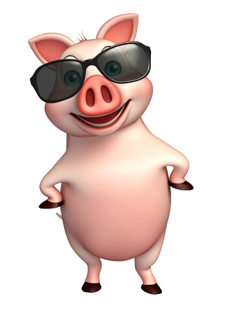 eyewear fashion: 3d rendered illustration of Pig cartoon character with sunglass Stock Photo