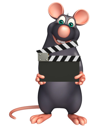 clapboard: 3d rendered illustration of Rat cartoon character with clapboard Stock Photo