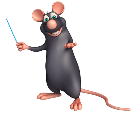 whisker characters: 3d rendered illustration of pointing  Rat cartoon character
