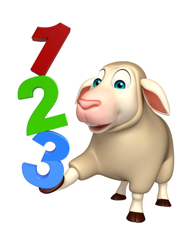kiddie: 3d rendered illustration of Sheep cartoon character with 123 sign