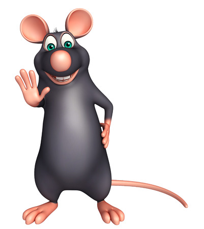 whisker characters: 3d rendered illustration of stop  Rat cartoon character