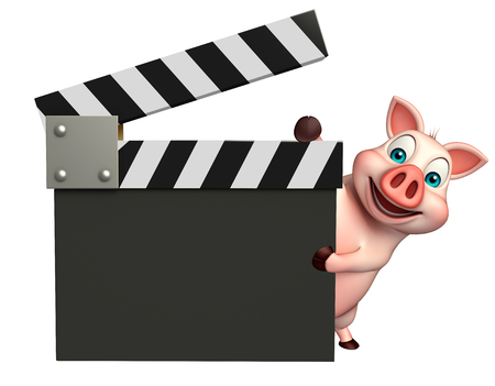clapboard: 3d rendered illustration of Pig cartoon character with clapboard