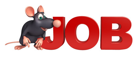whisker characters: 3d rendered illustration of Rat cartoon character with job sign