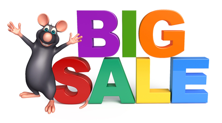 whisker characters: 3d rendered illustration of Rat cartoon character with big sale sign