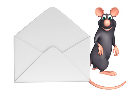 whisker characters: 3d rendered illustration of Rat cartoon character with mail Stock Photo