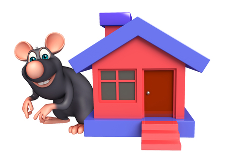whisker characters: 3d rendered illustration of Rat cartoon character with home