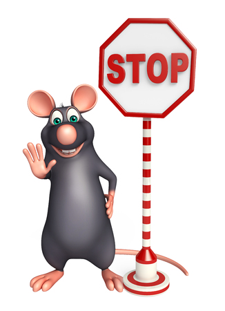 3d rendered illustration of Rat cartoon character with stop sign