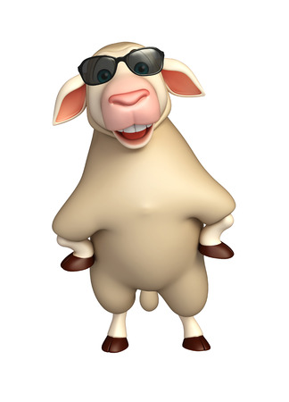eyewear fashion: 3d rendered illustration of Sheep cartoon character with sunglass Stock Photo