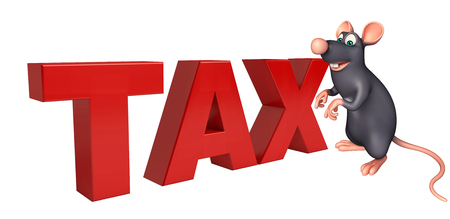 whisker characters: 3d rendered illustration of Rat cartoon character with tax sign Stock Photo