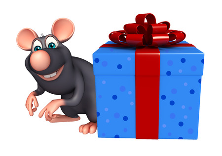 whisker characters: 3d rendered illustration of Rat cartoon character with gift box Stock Photo