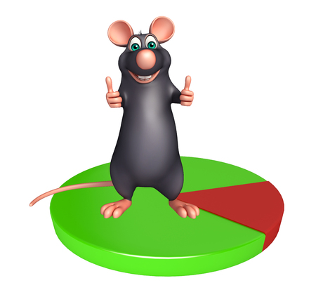 whisker characters: 3d rendered illustration of Rat cartoon character with circle sign