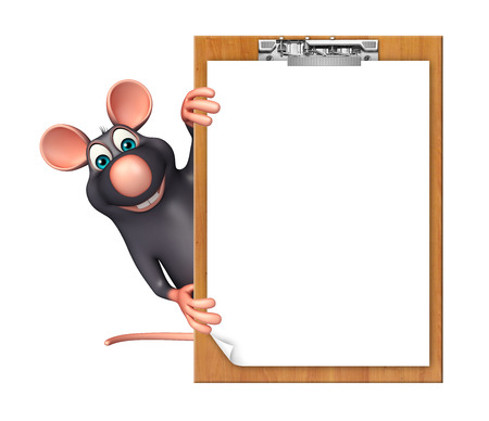 3d rendered illustration of Rat cartoon character with exam pad