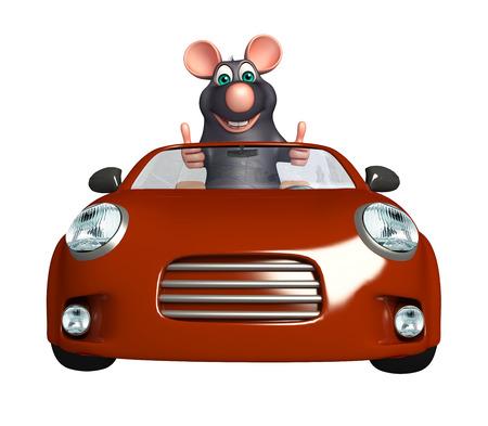 rata caricatura: 3d rindió la ilustración de personaje de dibujos animados de la rata con el coche