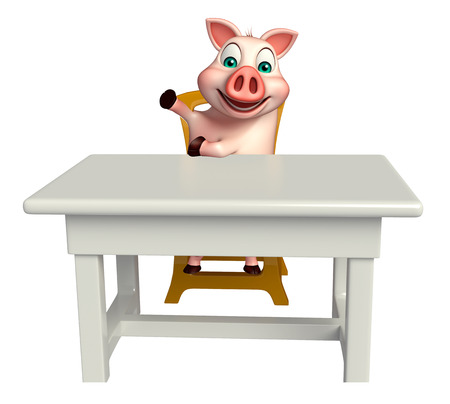 carnivora: 3d rendered illustration of Pig cartoon character with table and chair