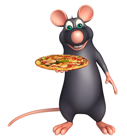 3d pizza: 3d rendered illustration of Rat cartoon character with pizza