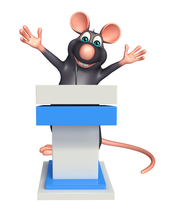 whisker characters: 3d rendered illustration of Rat cartoon character with speech stage