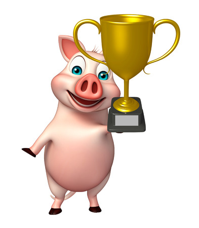 3d rendered illustration of Pig cartoon character with winning cup
