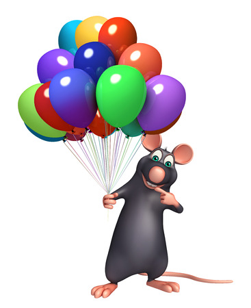baloon: 3d rendered illustration of Rat cartoon character with baloon