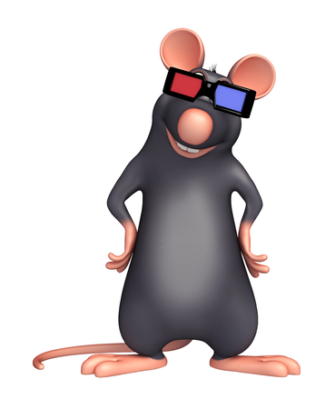 cinema viewing: 3d rendered illustration of Rat cartoon character  with 3D gogal Stock Photo