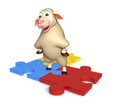 see saw: 3d rendered illustration of Sheep cartoon character with puzzle