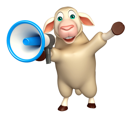 sheep warning: 3d rendered illustration of Sheep cartoon character with loud speaker