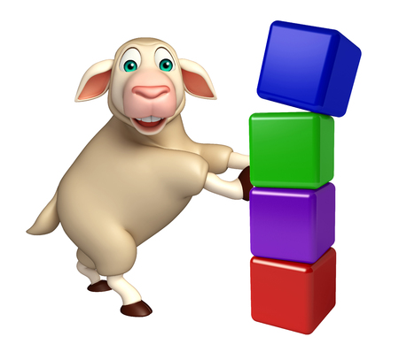 preschool children: 3d rendered illustration of Sheep cartoon character with level Stock Photo