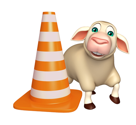 sheep road sign: 3d rendered illustration of Sheep cartoon character with    construction cone Stock Photo