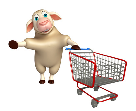 trolly: 3d rendered illustration of Sheep cartoon character with trolly