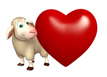 horn like: 3d rendered illustration of Sheep cartoon character with heart