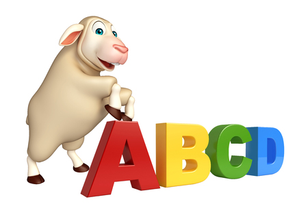 abcd: 3d rendered illustration of Sheep cartoon character with abcd sign Stock Photo