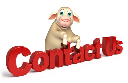 contact us sign: 3d rendered illustration of Sheep cartoon character with contact us sign