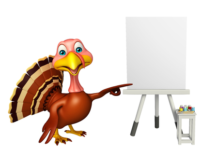 toonimal: 3d rendered illustration of Turkey cartoon character with easel board Stock Photo