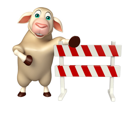 constuction: 3d rendered illustration of Sheep cartoon character with baracade
