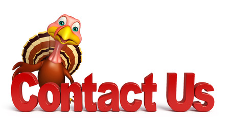 3d contact us: 3d rendered illustration of Turkey cartoon character with contact us sign