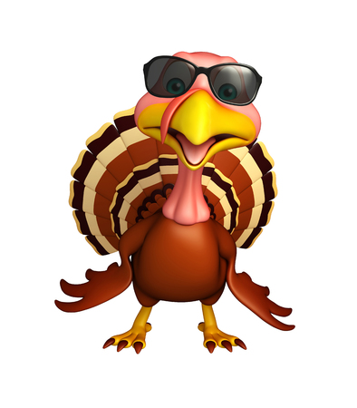 protective eyewear: 3d rendered illustration of Turkey cartoon character with sunglass